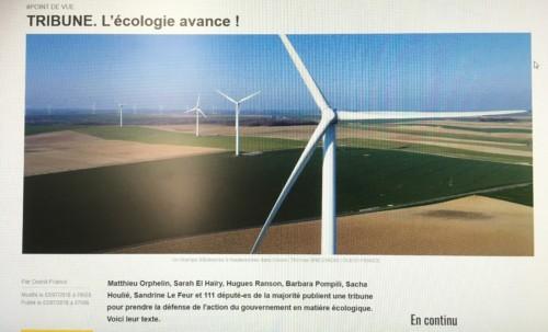 L'écologie avance ! Tribune publiée dans Ouest France