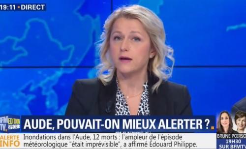 Invitée sur BFM TV sur les inondations dans l'Aude.