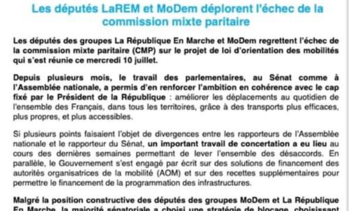 Loi d'orientation des mobilités : les députés LaREM et MoDem déplorent l'échec de la CMP